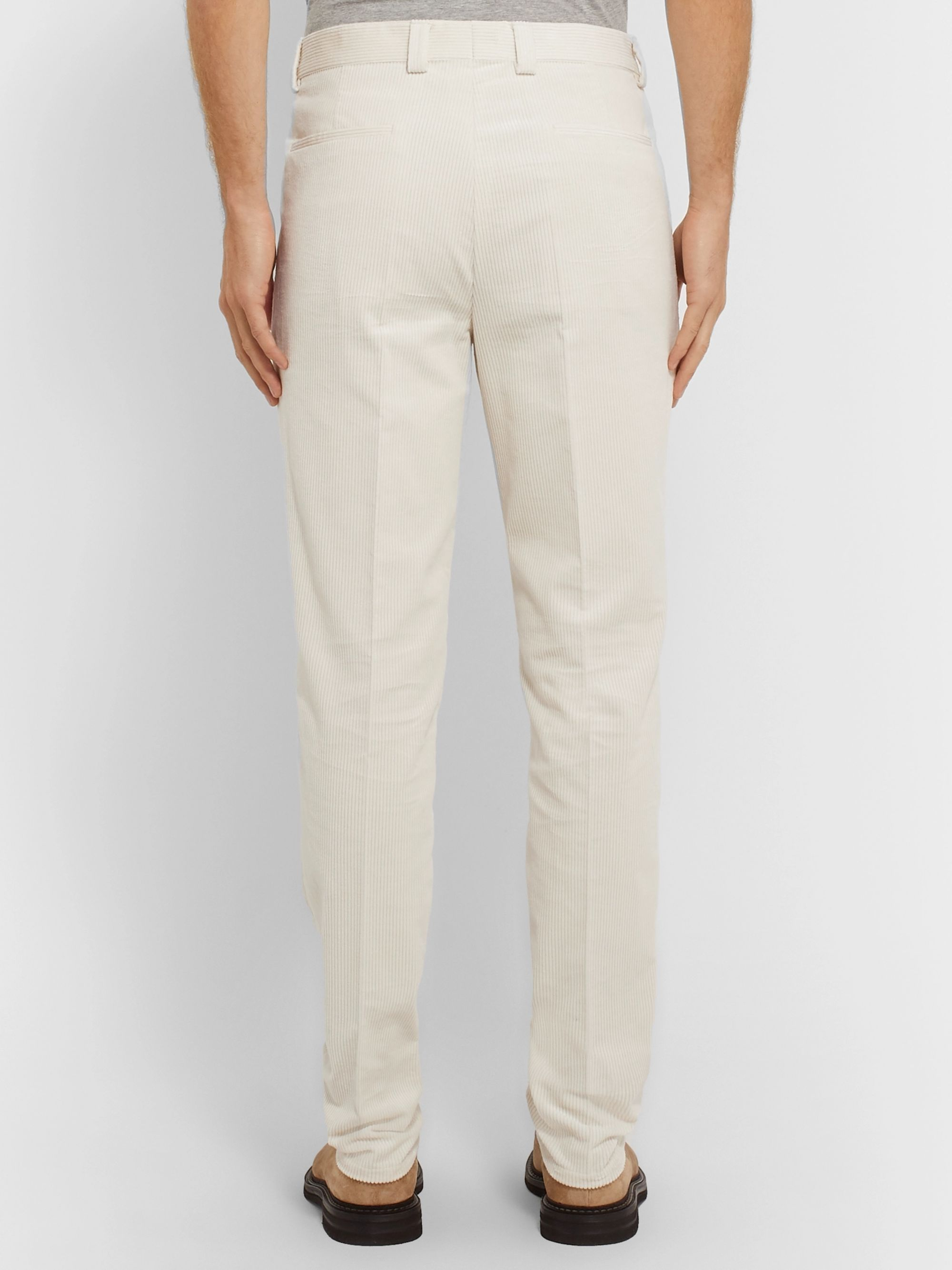 Brunello Cucinelli Tapered Pleated Cotton-Corduroy Trousers
