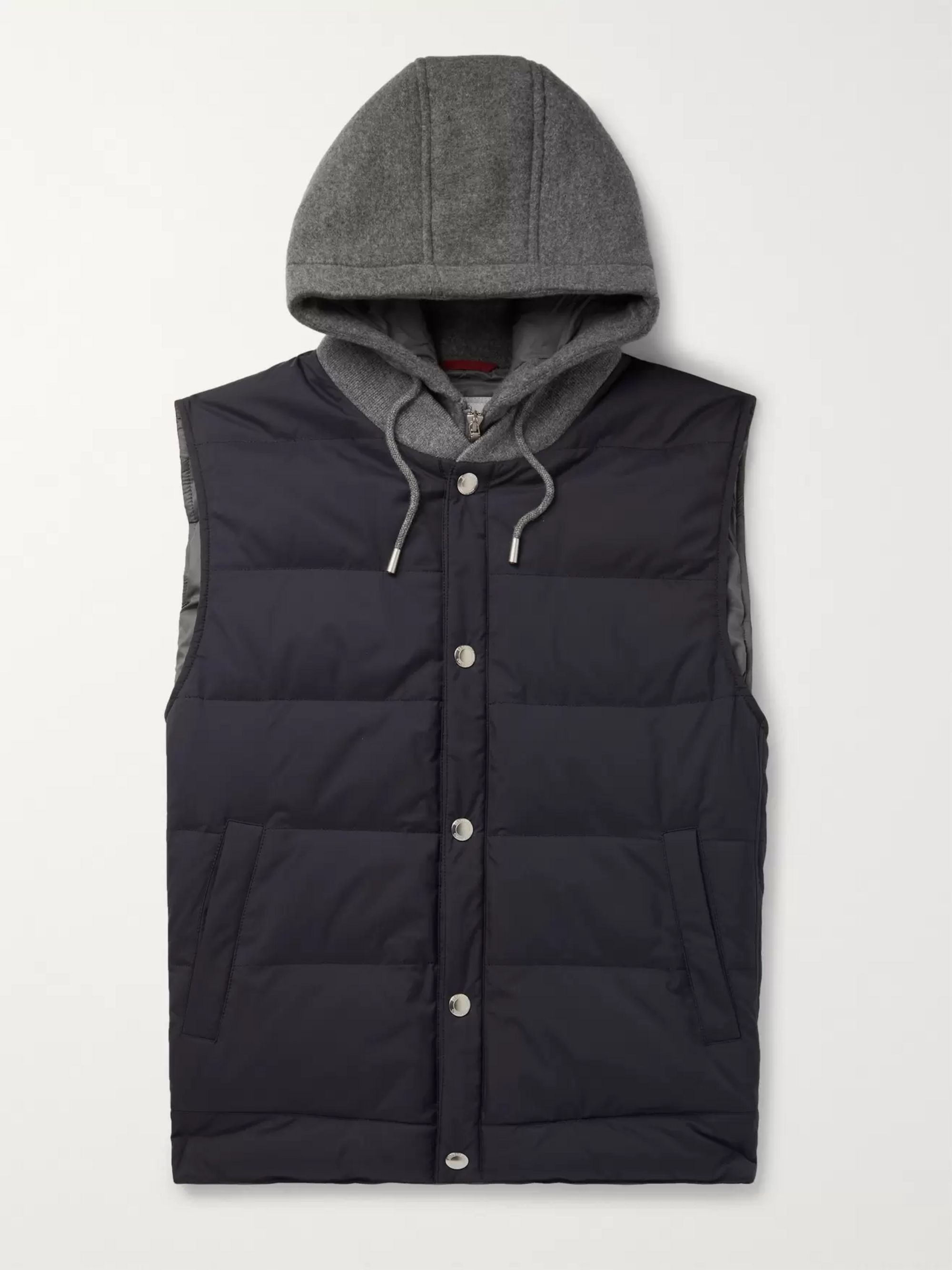 Brunello Cucinelli Cashmere and Quilted Shell Hooded Down Gilet