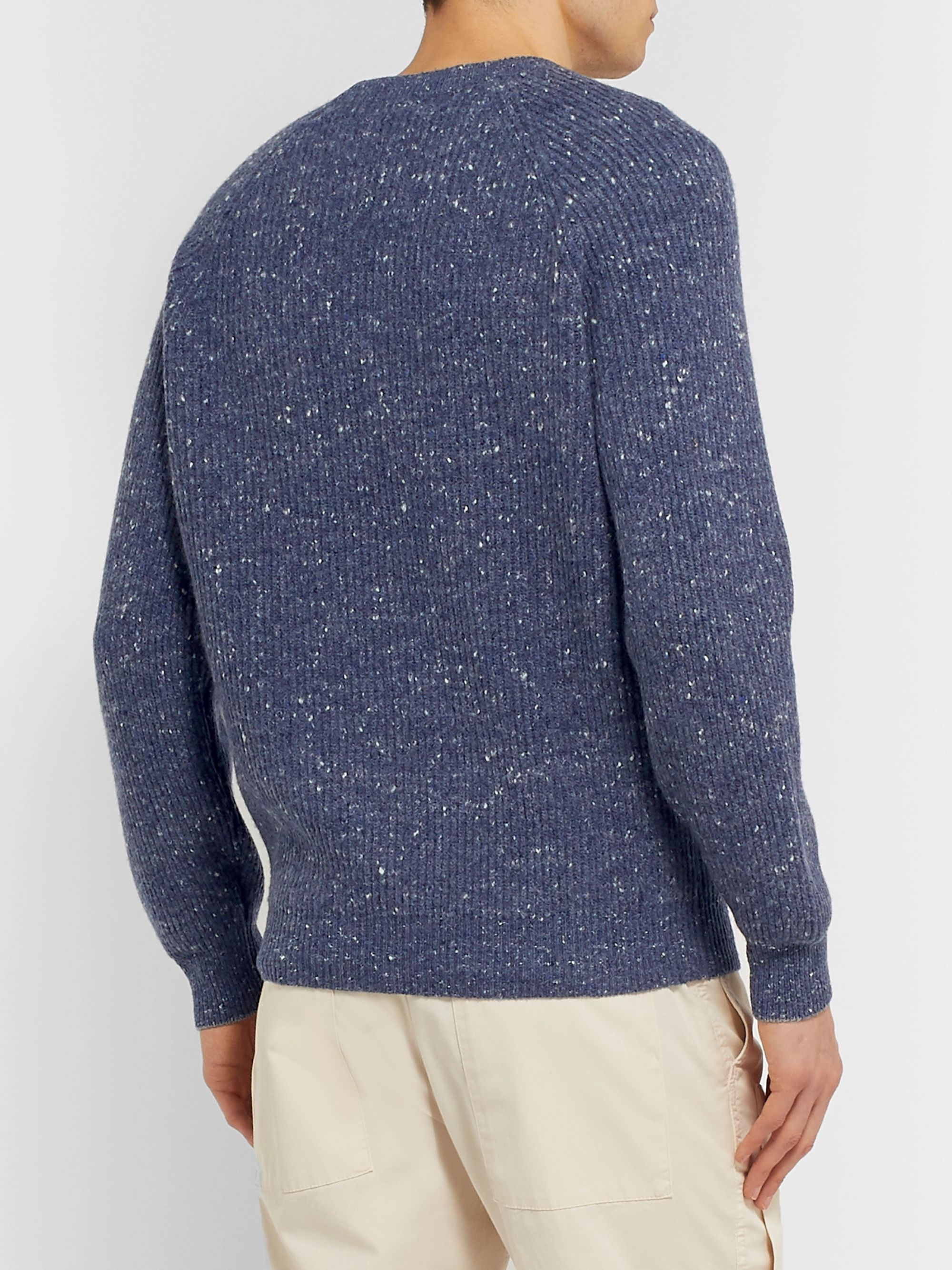 Brunello Cucinelli Ribbed Mélange Wool-Blend Sweater