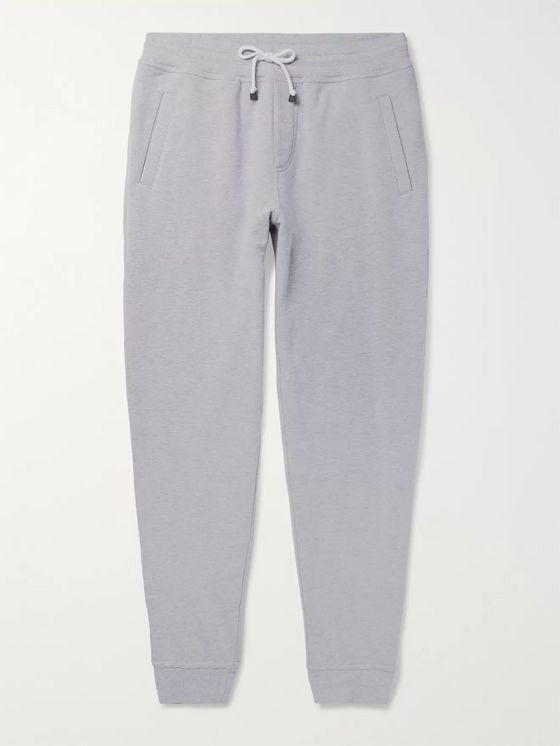 Brunello Cucinelli Mélange Fleece-Back Stretch-Cotton Jersey Sweatpants