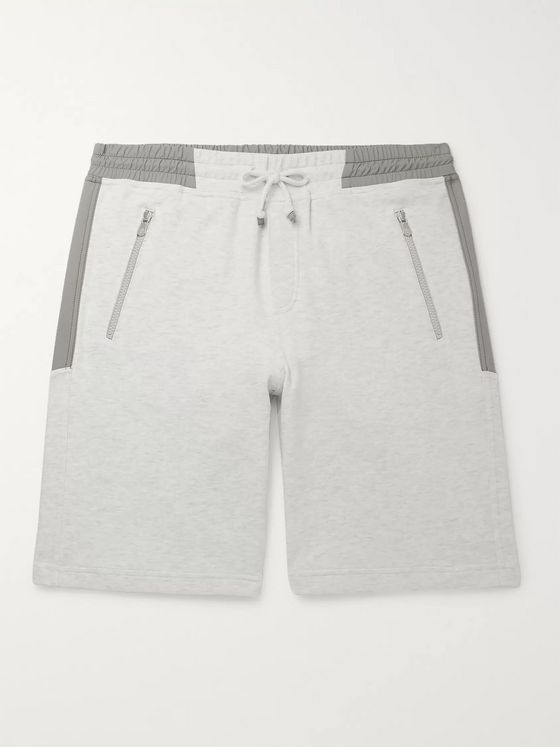 Brunello Cucinelli Mélange Cotton-Blend Jersey Drawstring Shorts