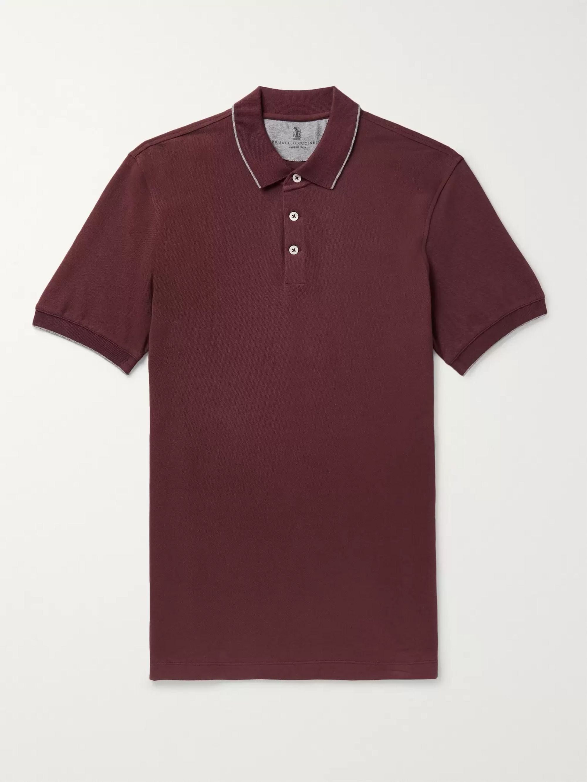 Brunello Cucinelli Slim-Fit Contrast-Tipped Cotton-Jersey Polo Shirt
