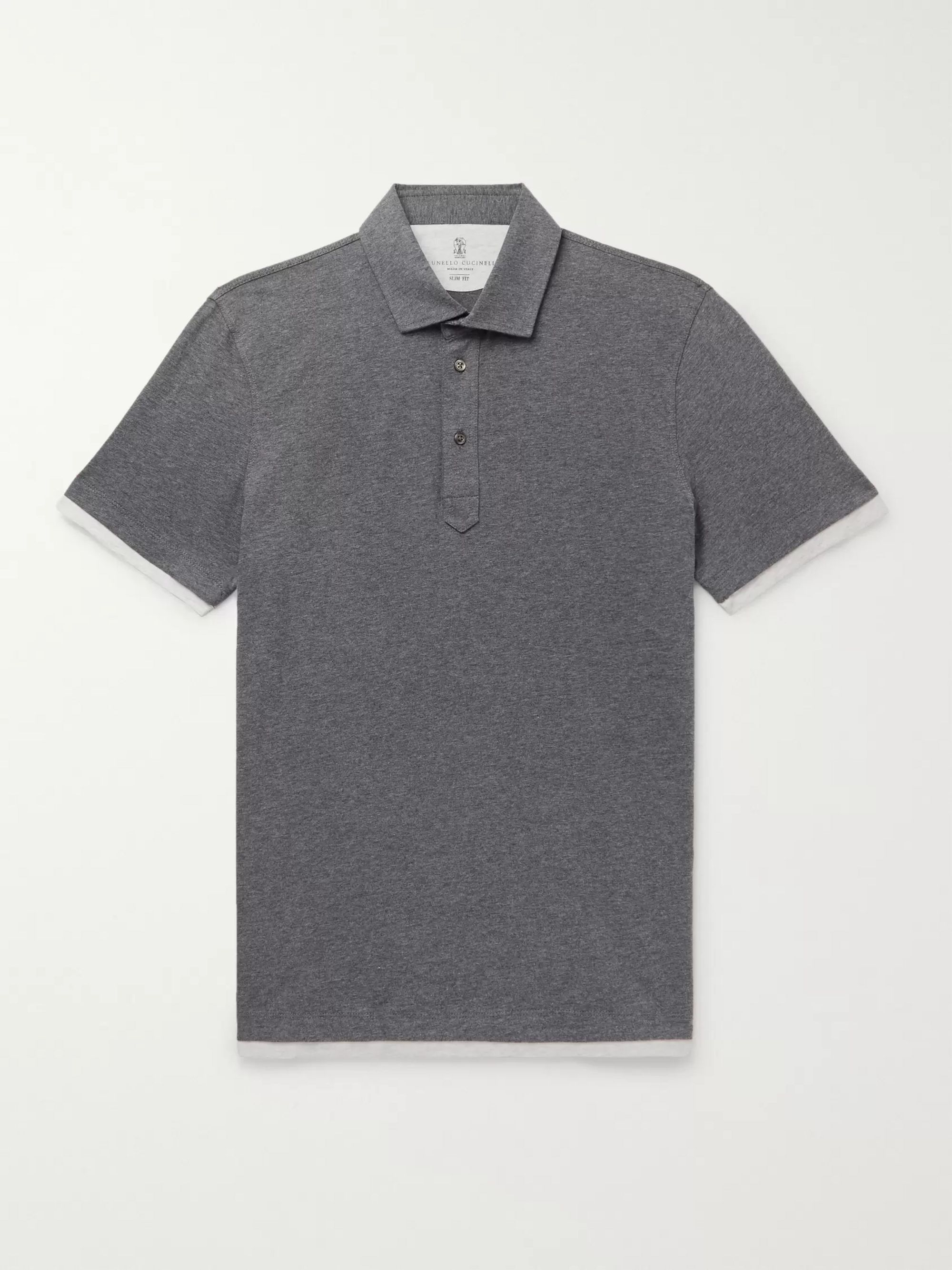 Brunello Cucinelli Slim-Fit Layered Mélange Cotton-Jersey Polo Shirt