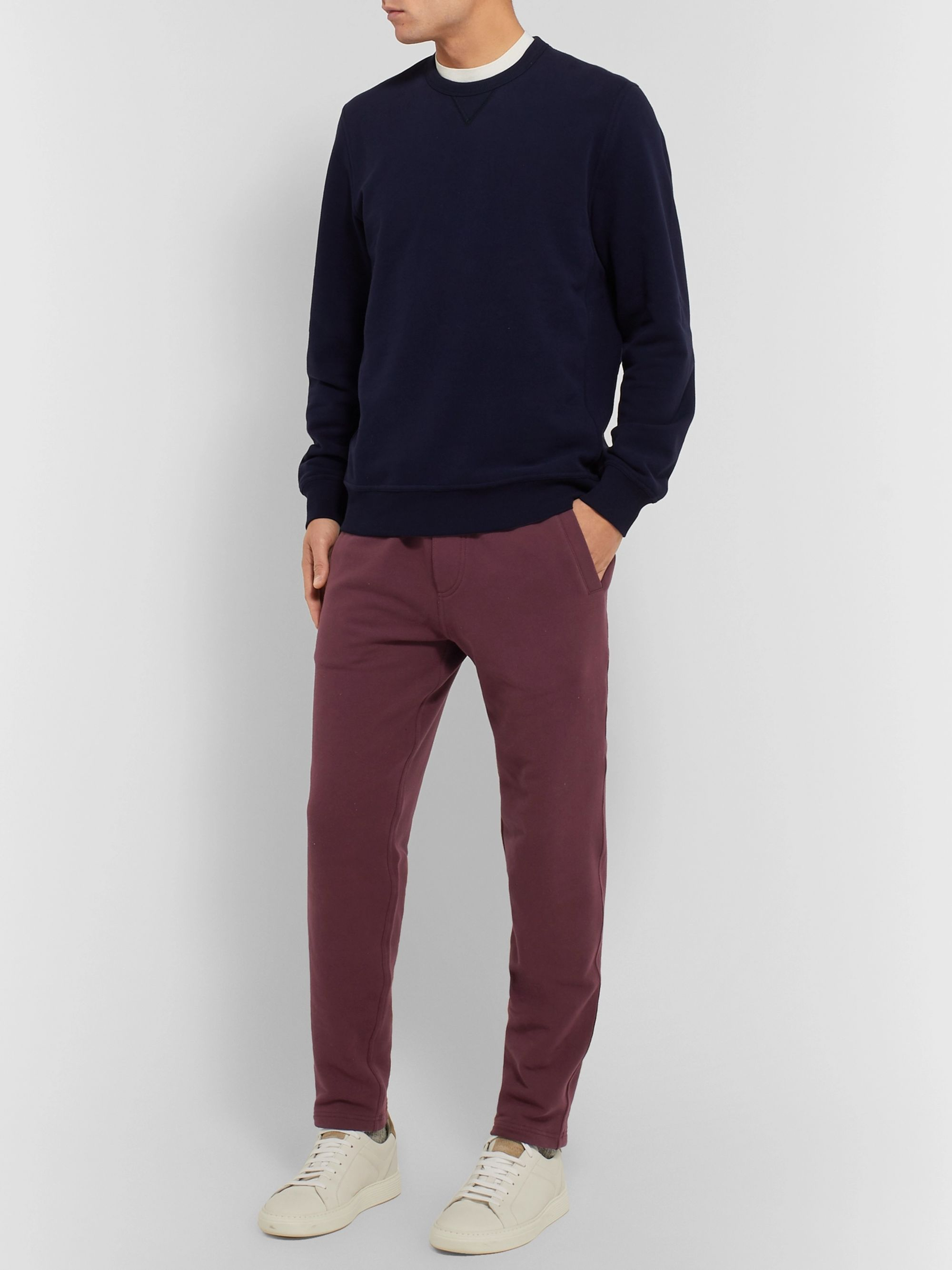 Brunello Cucinelli Tapered Fleece-Back Stretch-Cotton Jersey Sweatpants
