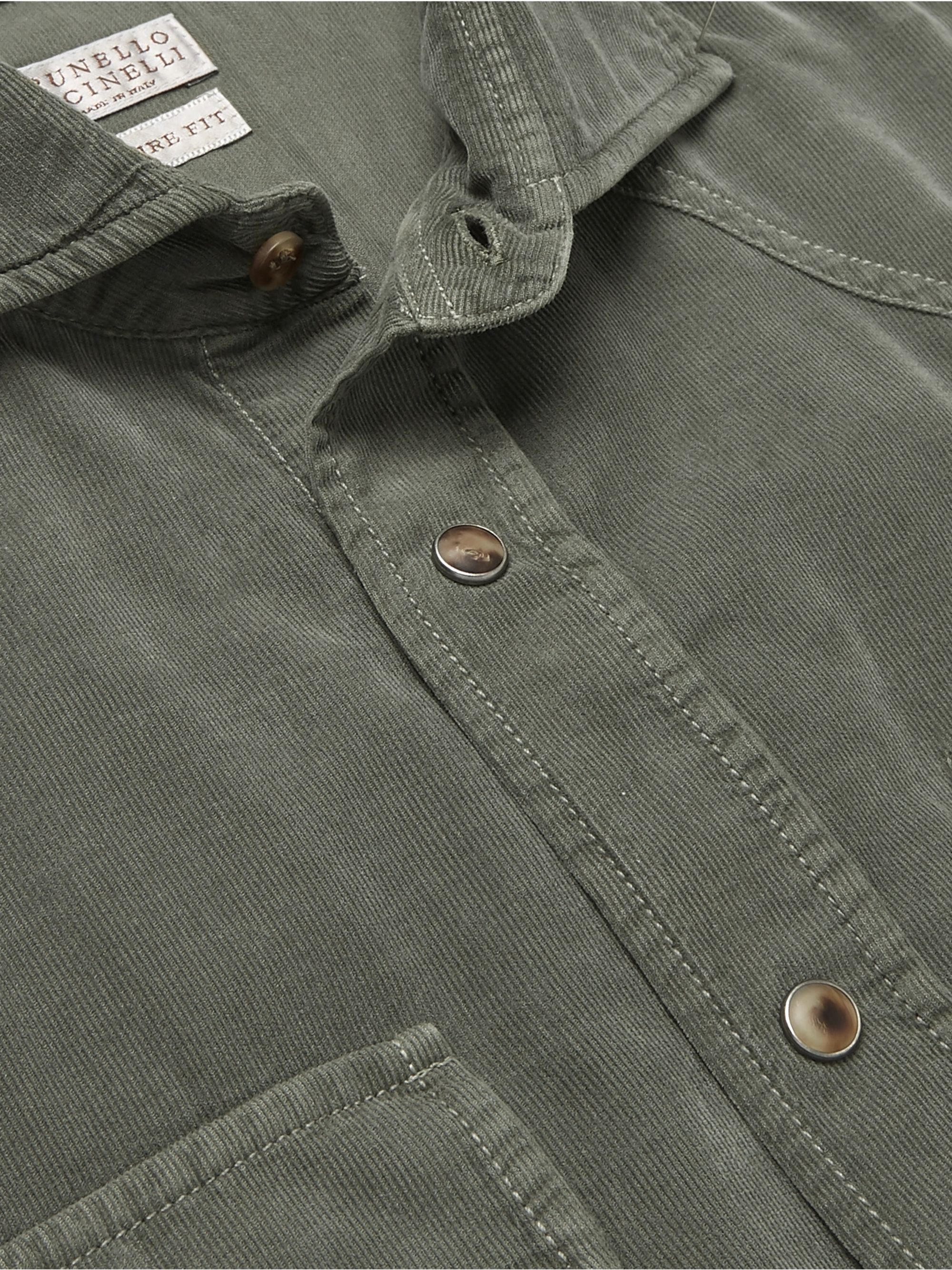 Brunello Cucinelli Cutaway-Collar Cotton-Corduroy Western Shirt
