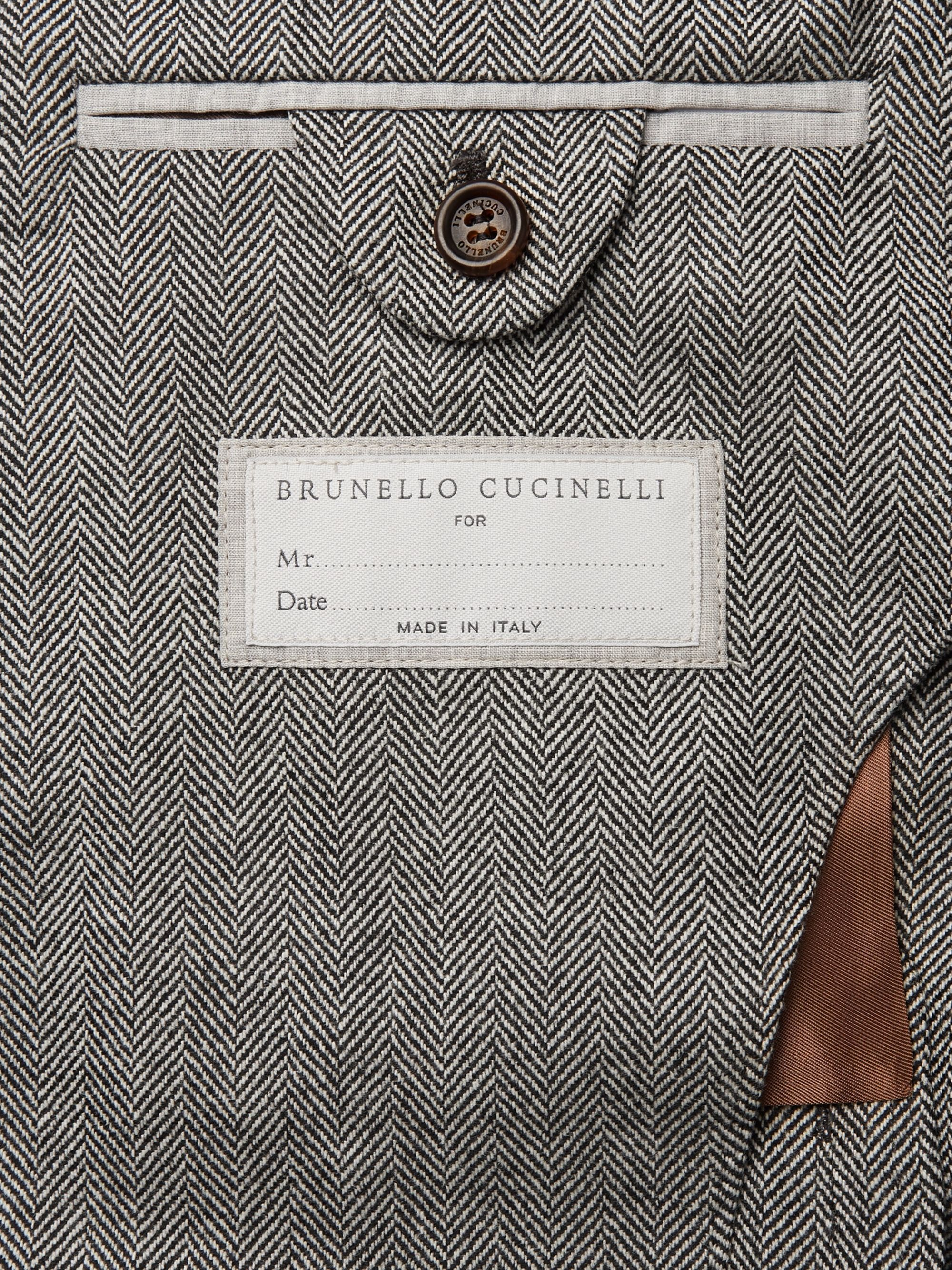 Brunello Cucinelli Grey Herringbone Virgin Wool and Cashmere-Blend Suit Jacket