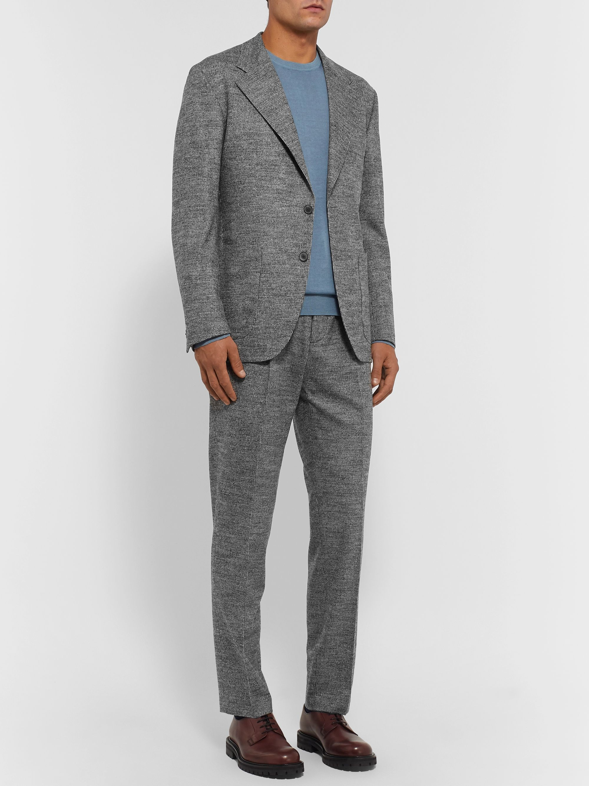 Camoshita Light-Grey Slim-Fit Puppytooth Wool-Blend Suit Jacket