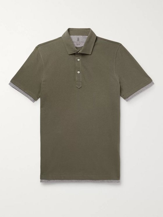 Brunello Cucinelli Slim-Fit Layered Cotton-Piqué Polo Shirt