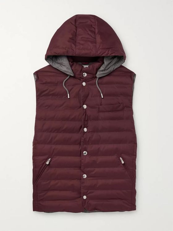 Brunello Cucinelli Quilted Nylon Hooded Gilet