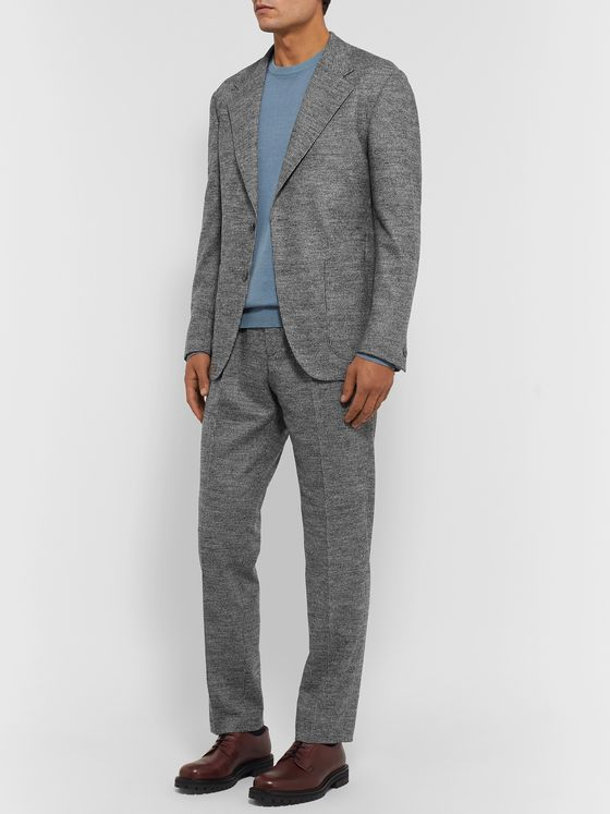 Camoshita Light-Grey Slim-Fit Pleated Puppytooth Wool-Blend Suit Trousers