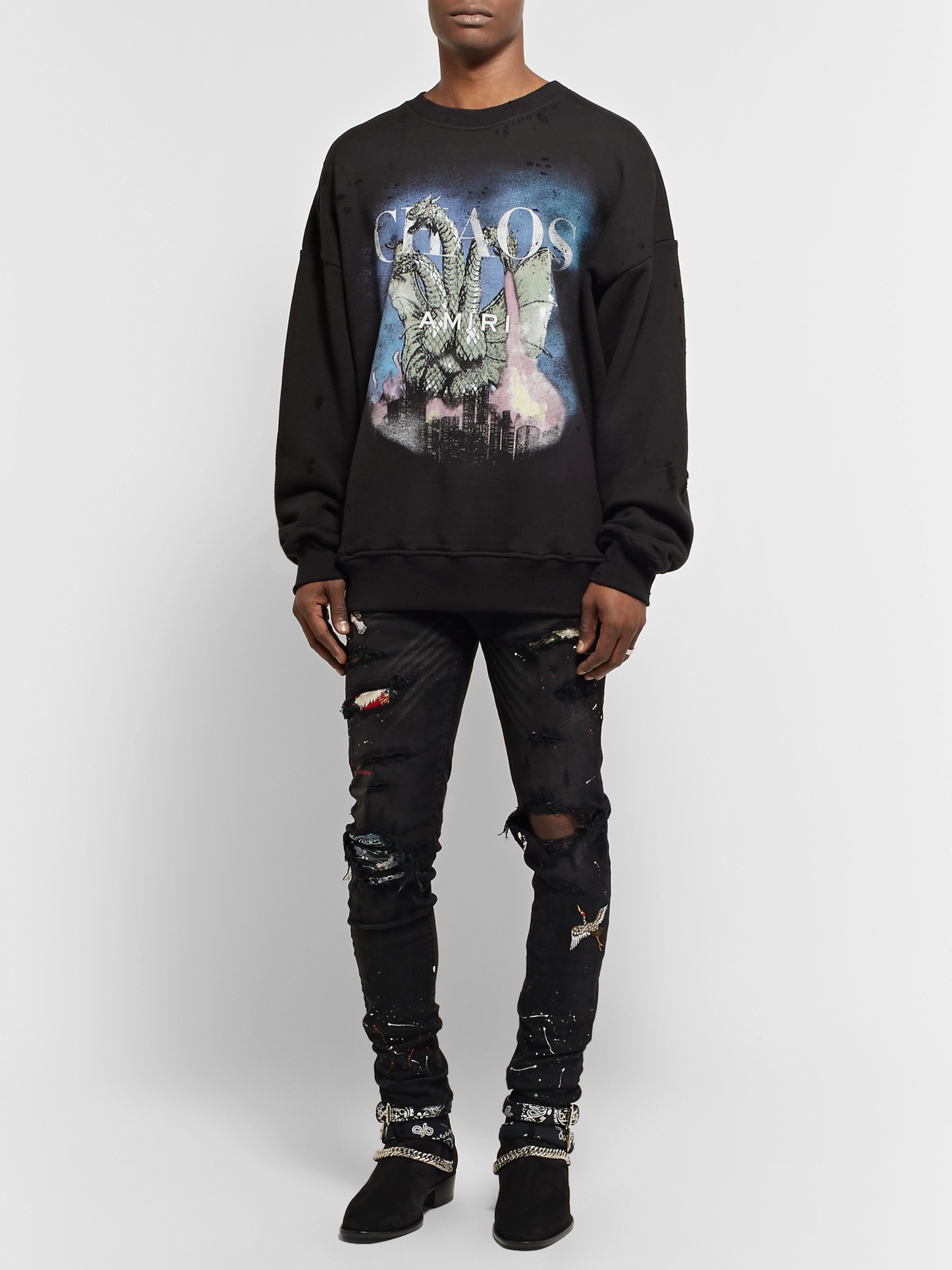 AMIRI Distressed Printed Loopback Cotton-Jersey Sweatshirt