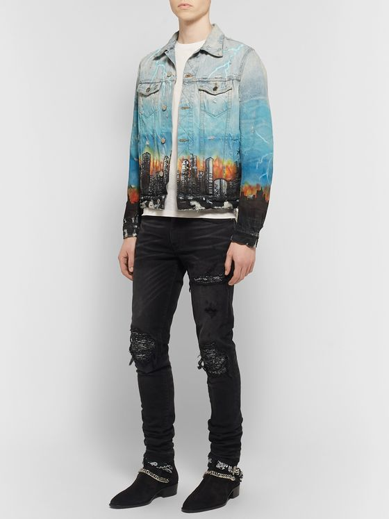 AMIRI Distressed Printed Denim Trucker Jacket