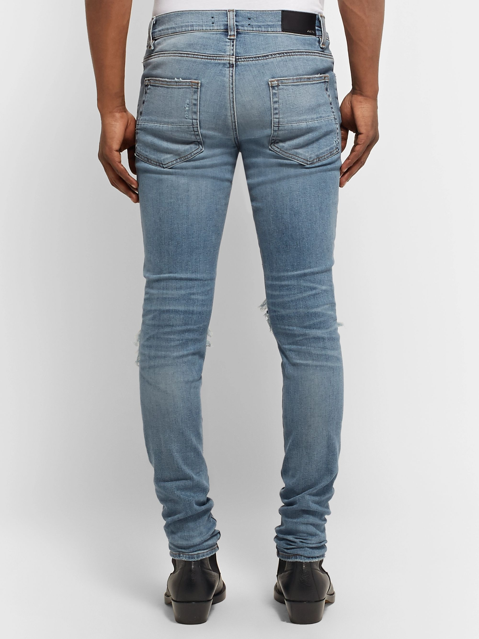 AMIRI MX1 Skinny-Fit Leather-Panelled Distressed Stretch-Denim Jeans