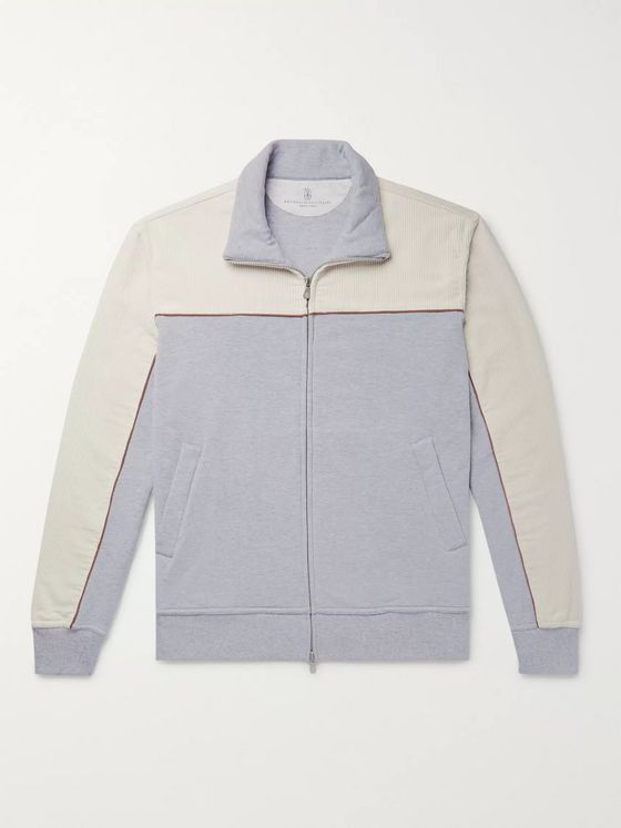 Brunello Cucinelli Stretch-Cotton Corduroy and Mélange Fleece-Back Jersey Zip-Up Sweatshirt