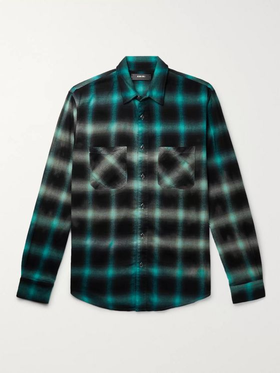AMIRI Distressed Checked Cotton-Blend Flannel Shirt