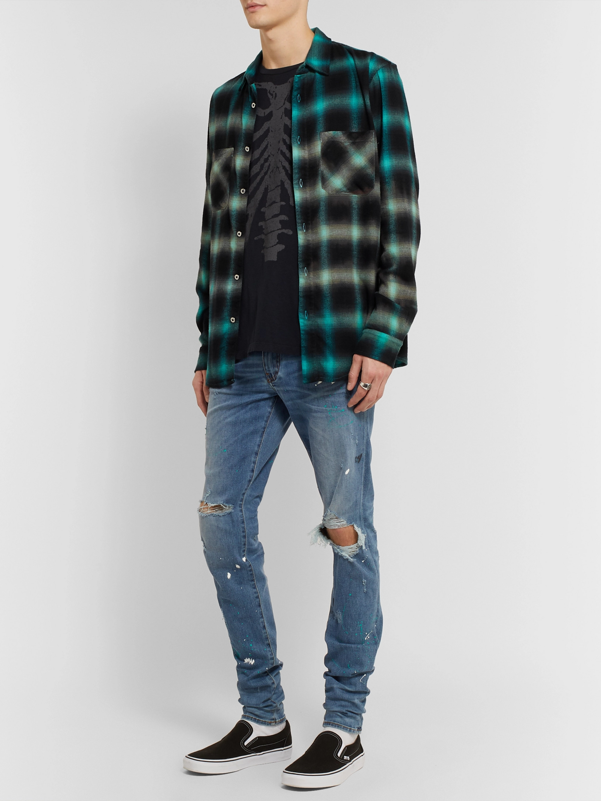 AMIRI Tie-Dyed Cotton-Blend Flannel Shirt