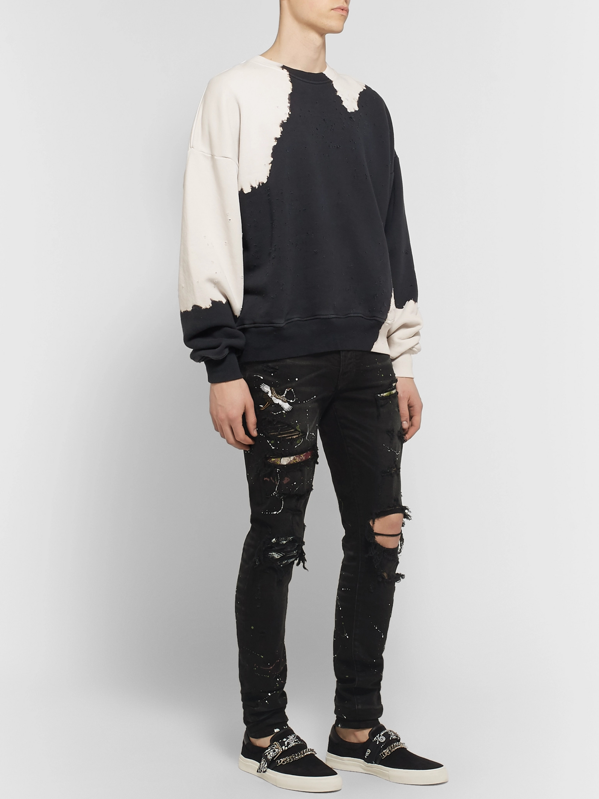 AMIRI Skinny-Fit Appliquéd Distressed Stretch-Denim Jeans