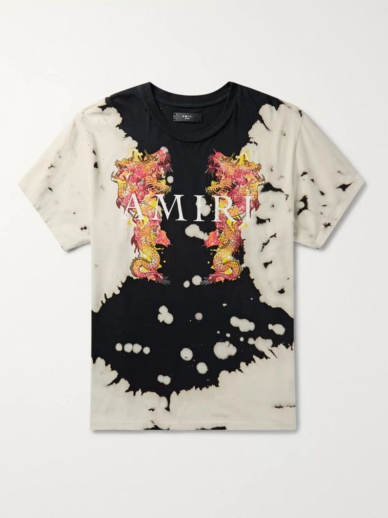 AMIRI Distressed Logo-Print Tie-Dyed Cotton-Jersey T-Shirt