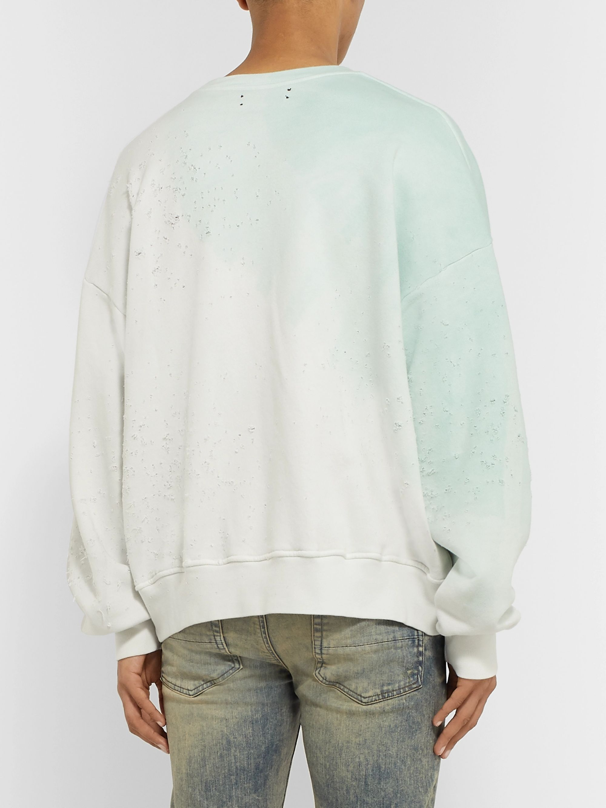 AMIRI Distressed Tie-Dyed Loopback Cotton-Jersey Sweatshirt