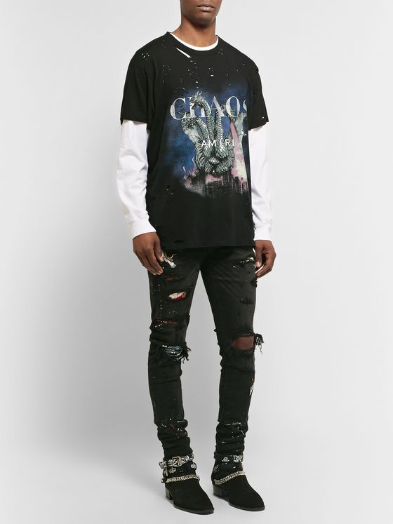 AMIRI Distressed Printed Cotton-Jersey T-Shirt