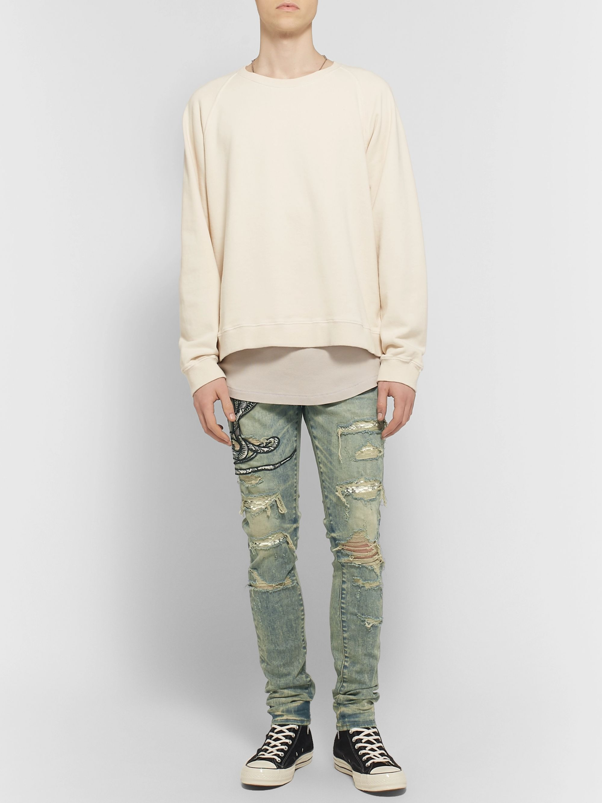 a40180bc2 MX1 Skinny-Fit Appliquéd Faux Snake-Panelled Distressed Stretch-Denim Jeans