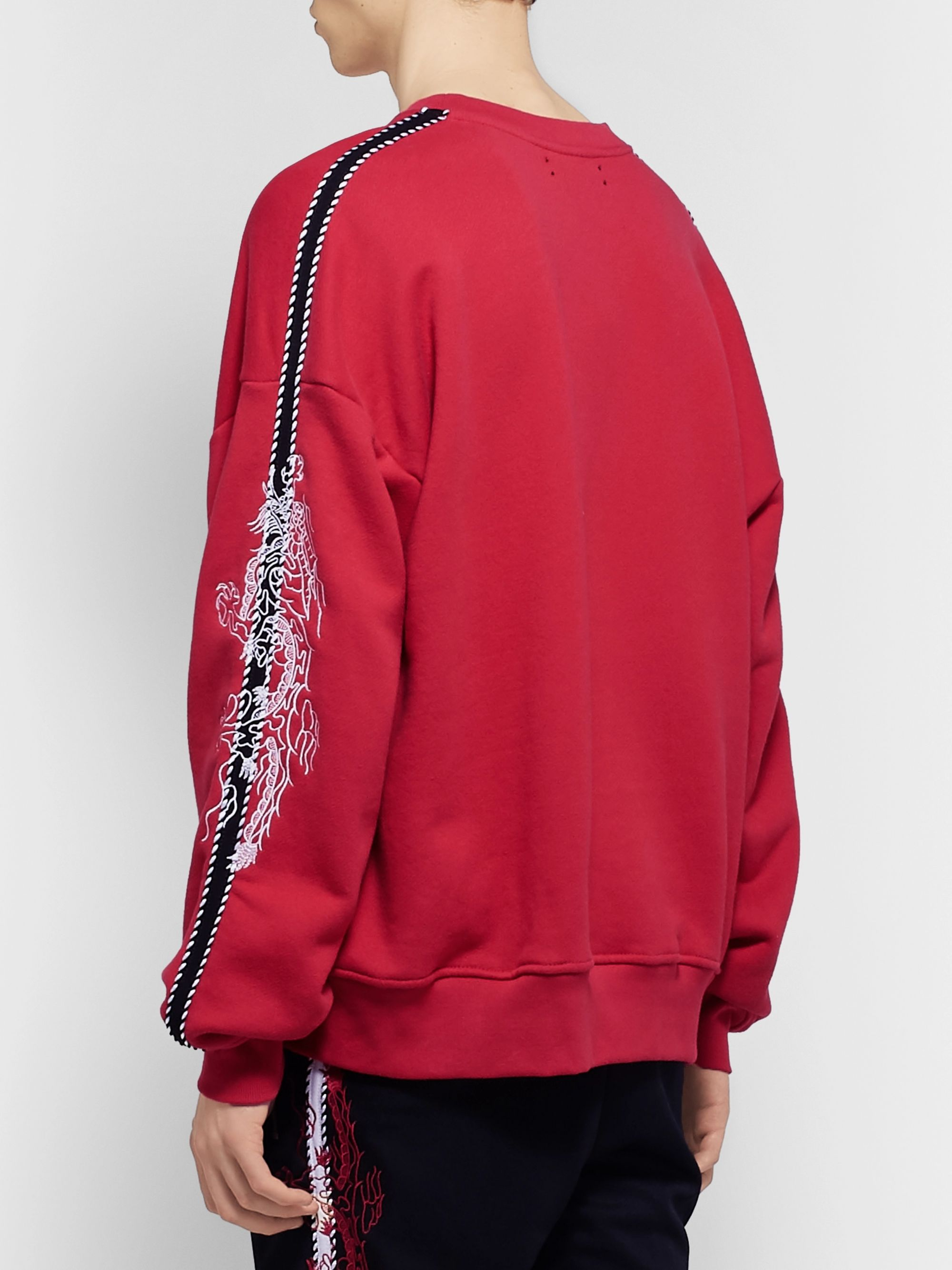 AMIRI Oversized Embroidered Webbing-Trimmed Loopback Cotton-Jersey Sweatshirt