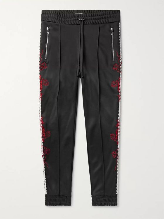 AMIRI Slim-Fit Tapered Embroidered Webbing-Trimmed Tech-Jersey Track Pants