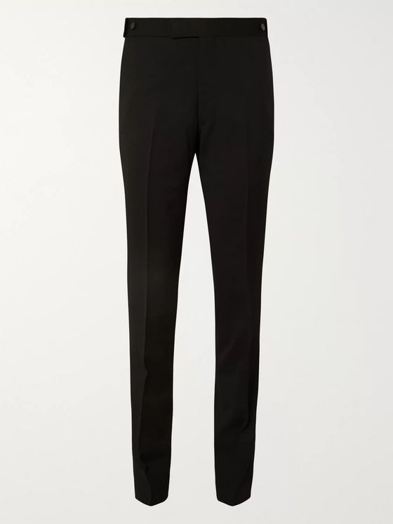 THE ROW Black Gregory Virgin Wool Tuxedo Trousers