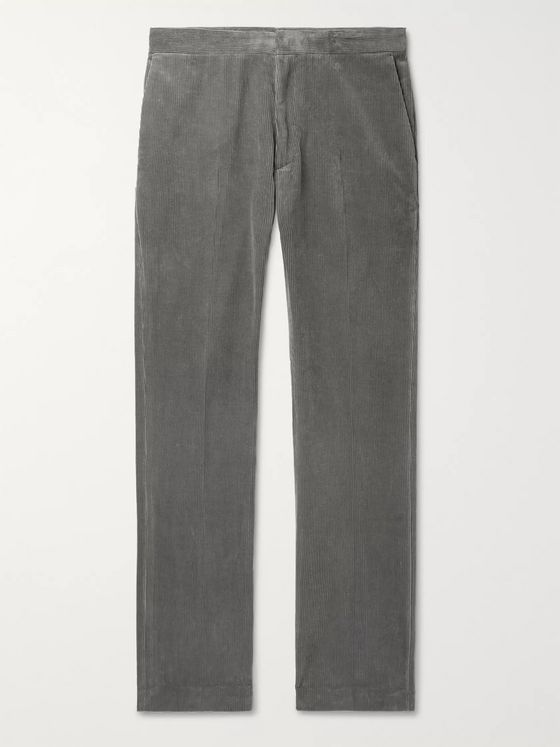 THE ROW Grey Walker Cotton and Cashmere-Blend Corduroy Trousers