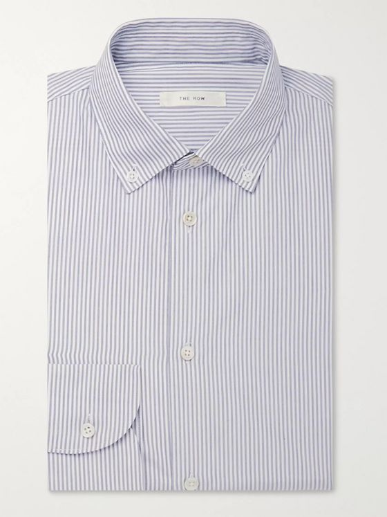 The Row White Robert Button-Down Collar Pinstriped Cotton Shirt