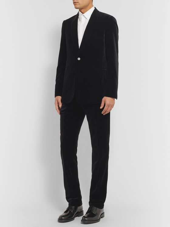 THE ROW Black Archer Slim-Fit Shawl-Collar Cotton-Velvet Tuxedo Jacket