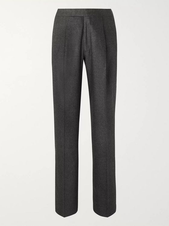 The Row Grey Martin Mélange Wool-Blend Suit Trousers