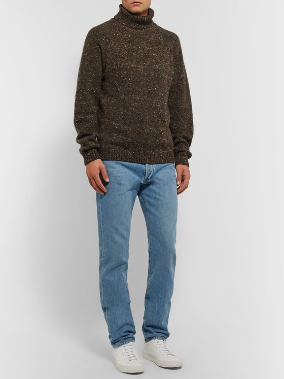 The Row Asher Mélange Camel Hair-Blend Rollneck Sweater