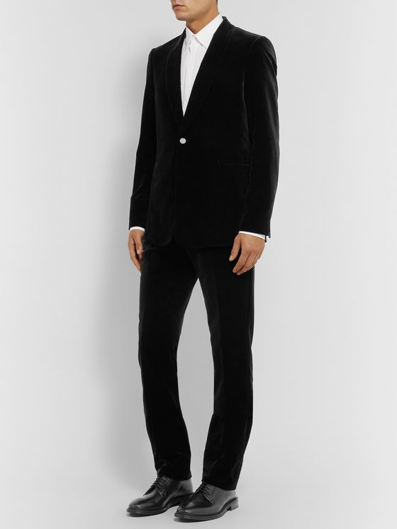 THE ROW Black Gregory Cotton-Velvet Tuxedo Trousers