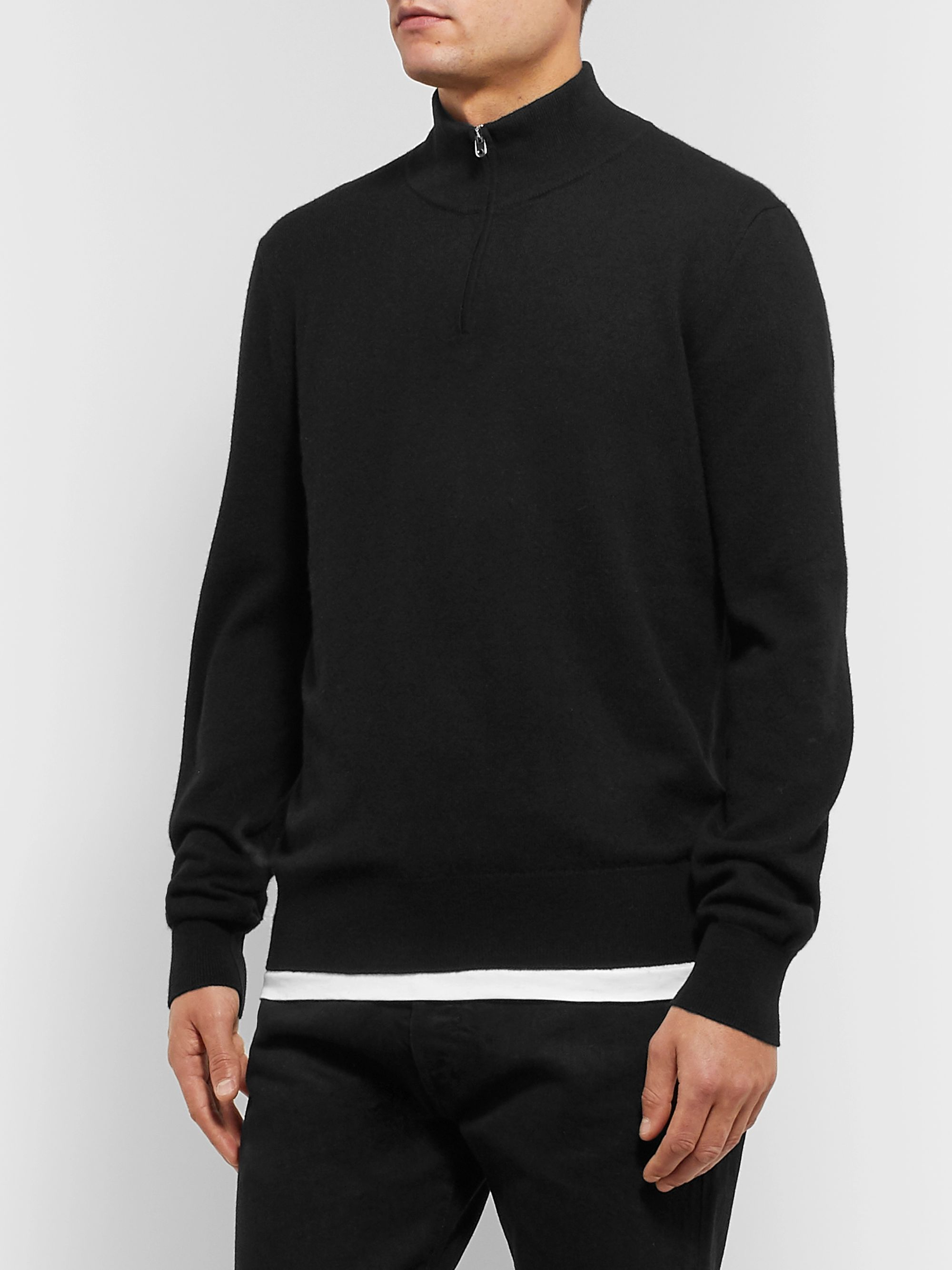 The Row Dexter Cashmere Half-Zip Sweater