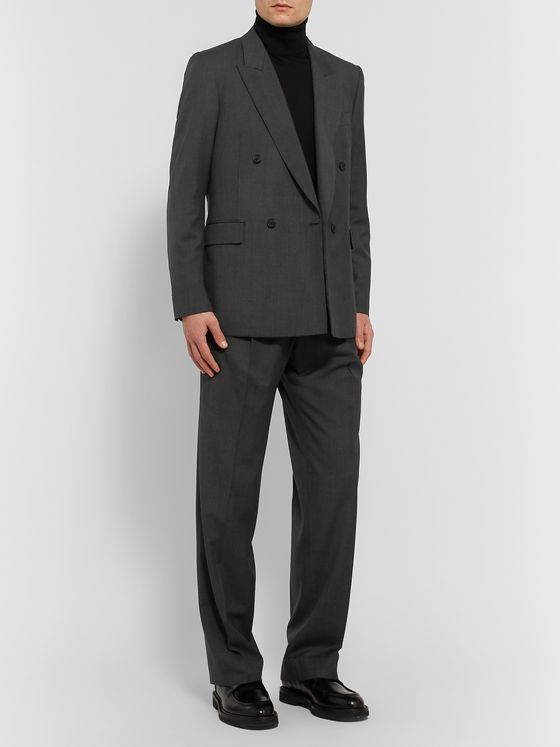 The Row Dark-Grey Colin Double-Breasted Mélange Wool Suit Jacket