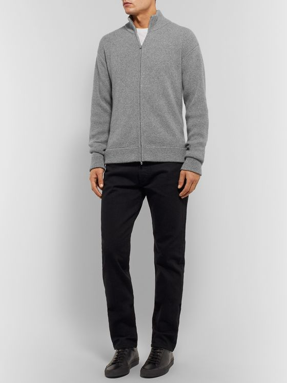 The Row Aaron Ribbed Mélange Cashmere Zip-Up Cardigan