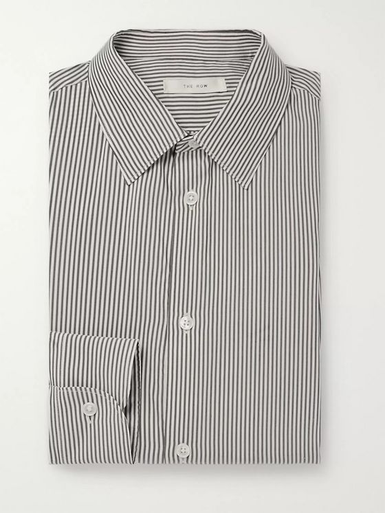 The Row Jasper Black Slim-Fit Striped Silk Shirt