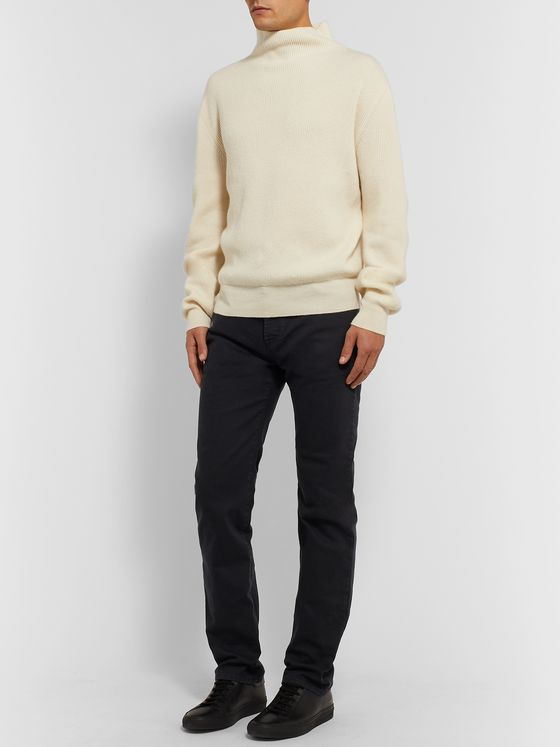 The Row Daniel Ribbed Cashmere Mock-Neck Sweater