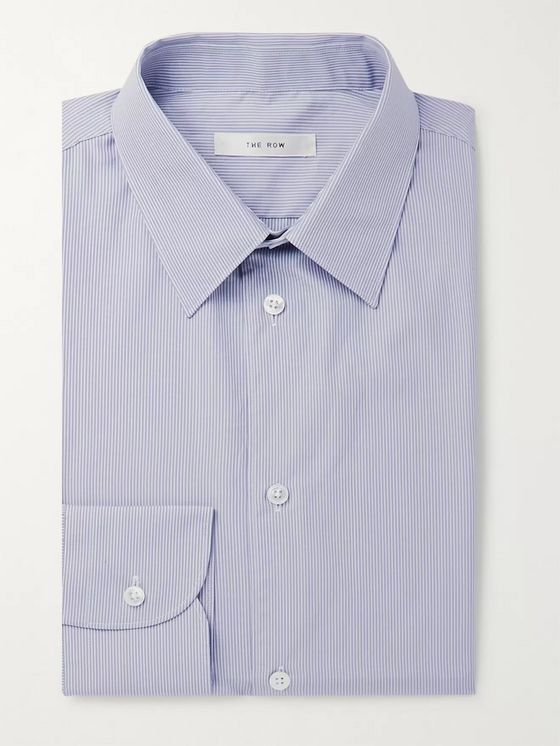 The Row Grey Jasper Slim-Fit Striped Cotton-Poplin Shirt