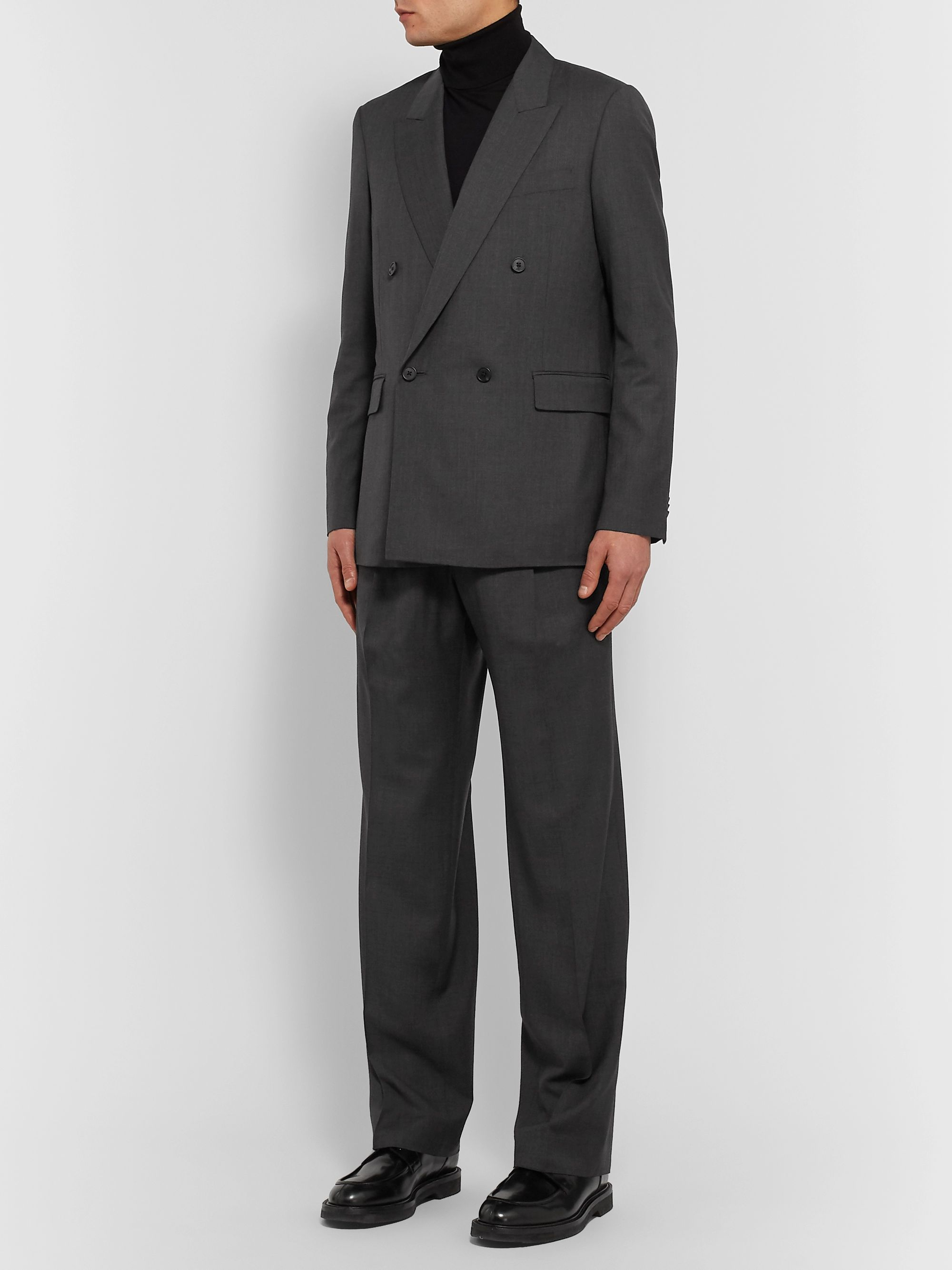 The Row Dark-Grey Martin Wide-Leg Mélange Wool Suit Trousers