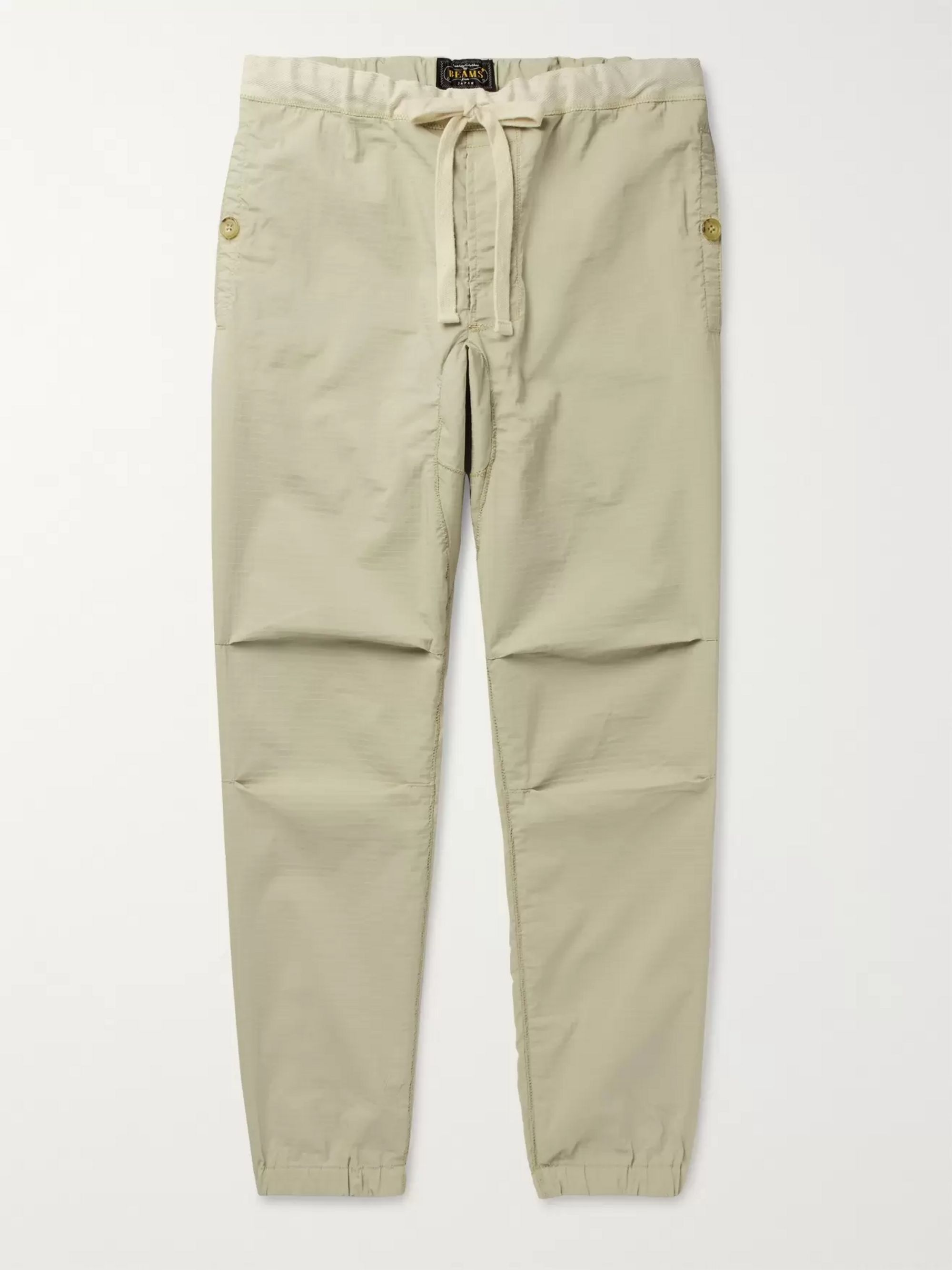 Beams Plus Slim-Fit Tapered Grosgrain-Trimmed Ripstop Drawstring Trousers