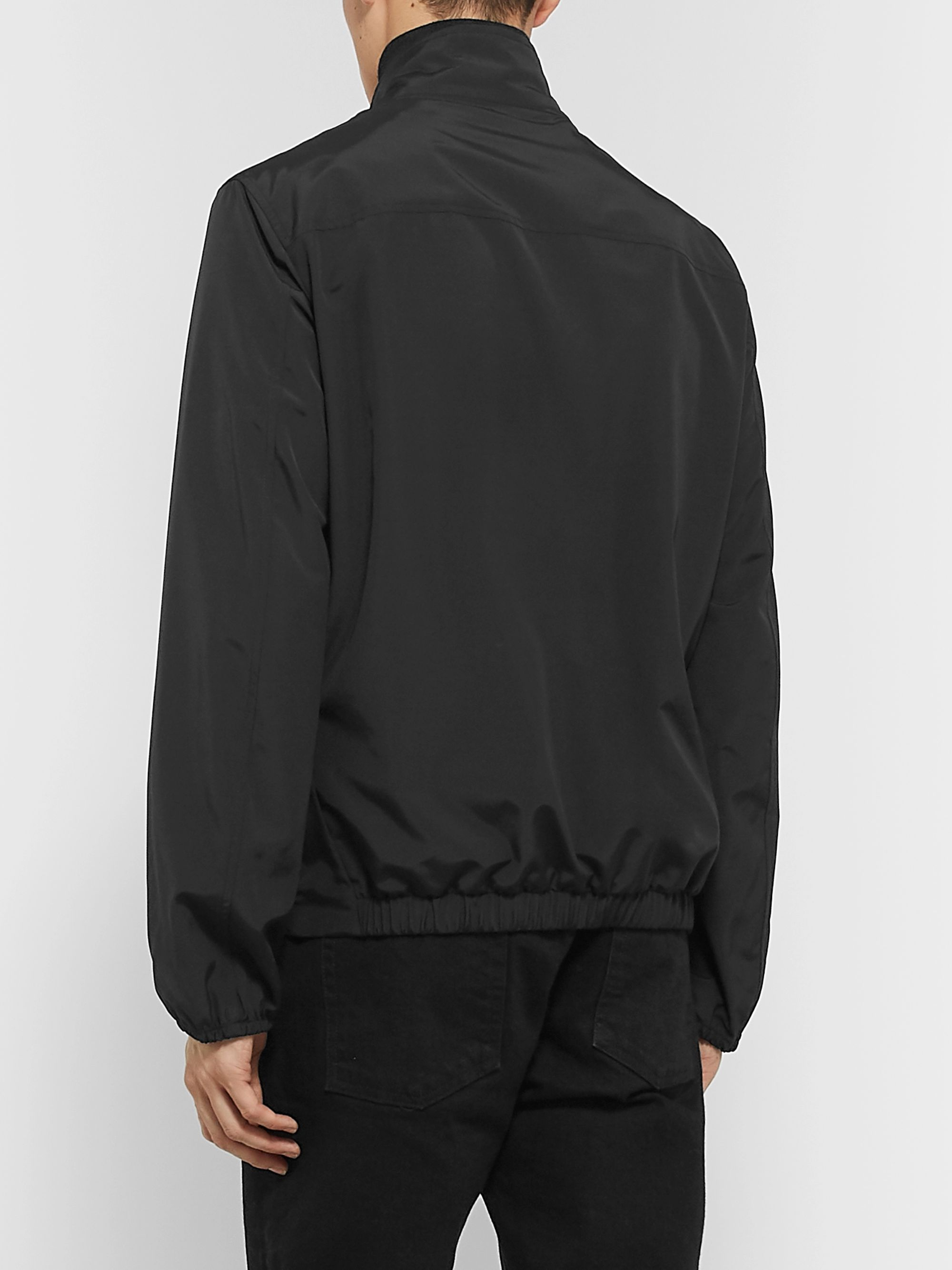 The Row Leo Leather-Trimmed Wool-Blend Blouson Jacket