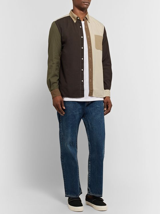 Beams Plus Button-Down Collar Colour-Block Cotton-Seersucker Shirt