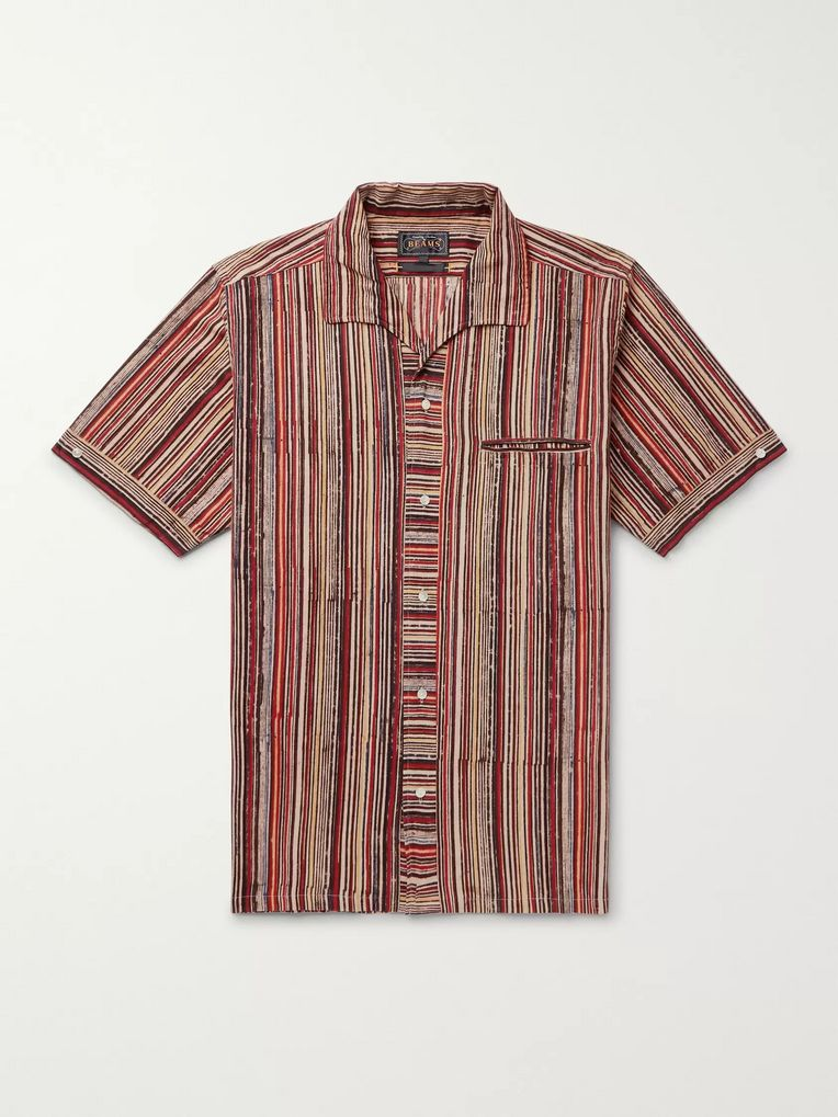 Beams Plus Camp-Collar Striped Cotton Shirt