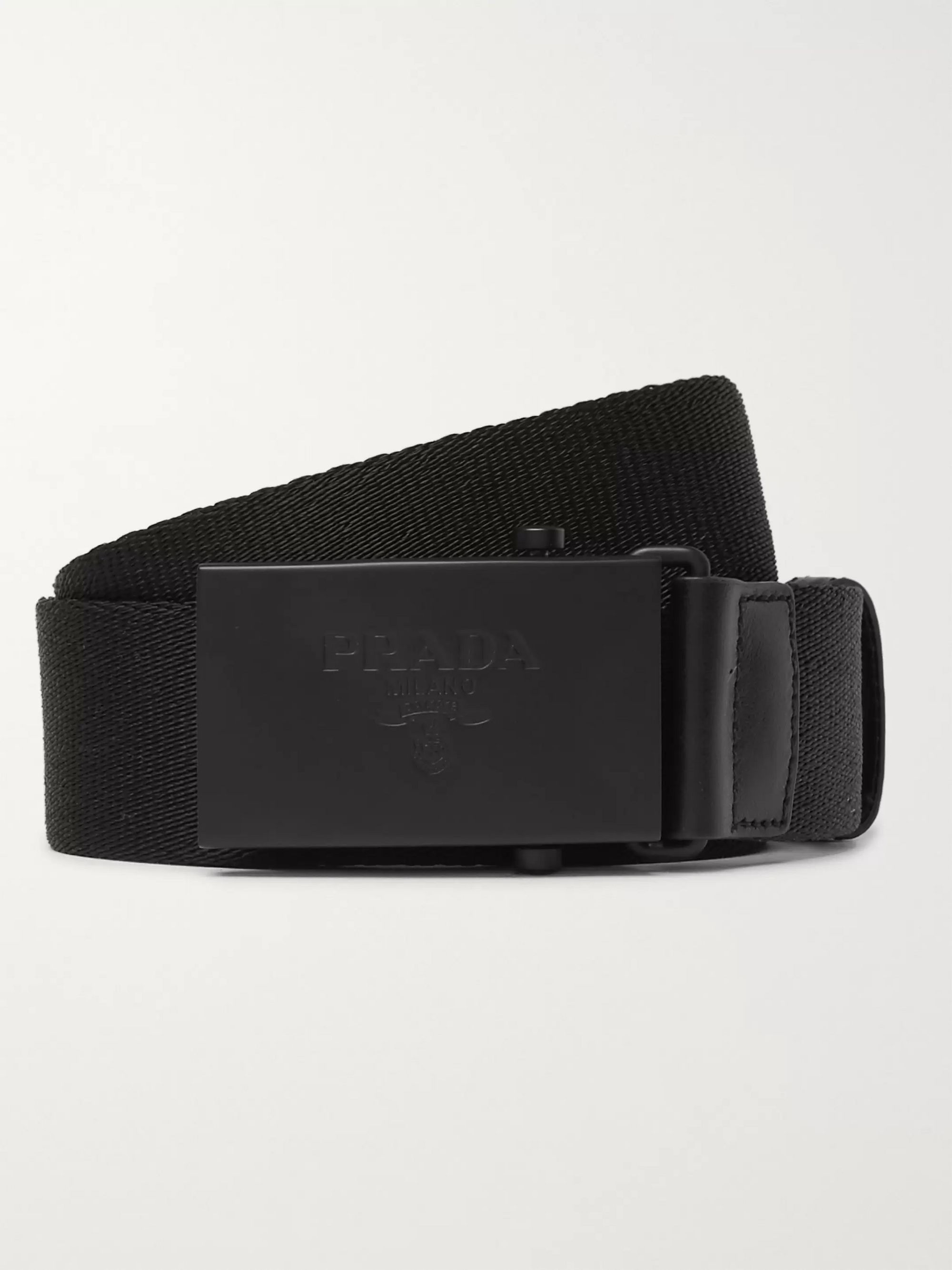 Prada 3.5cm Black Leather-Trimmed Webbing Belt