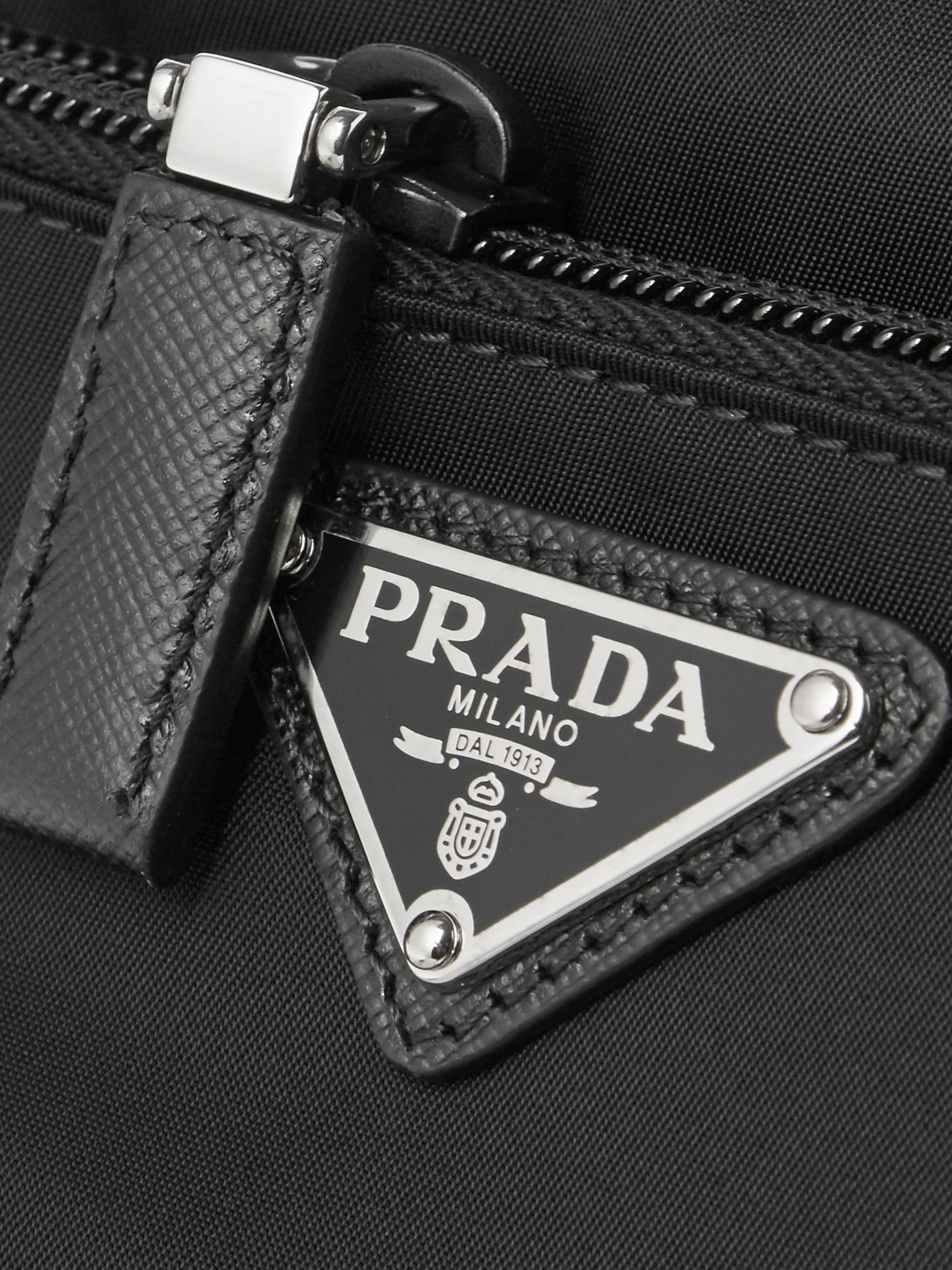 Prada Saffiano Leather-Trimmed Nylon Wash Bag