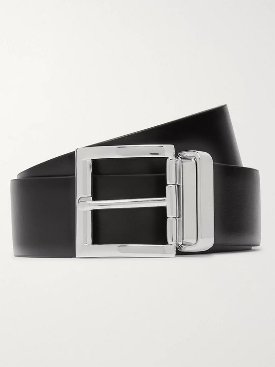Prada 3cm Reversible Black and Navy Leather Belt