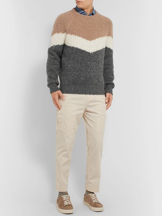 Brunello Cucinelli Striped Mélange Alpaca-Blend Sweater