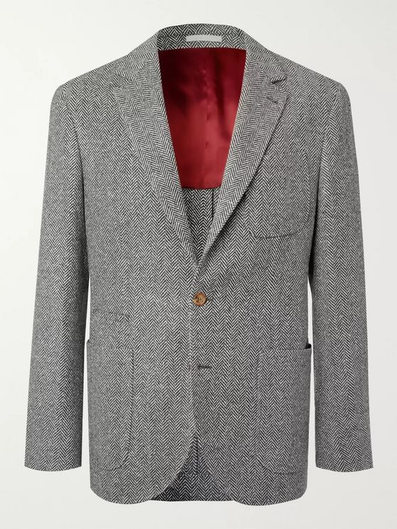 Brunello Cucinelli Grey Unstructured Herringbone Wool and Cashmere-Blend Blazer
